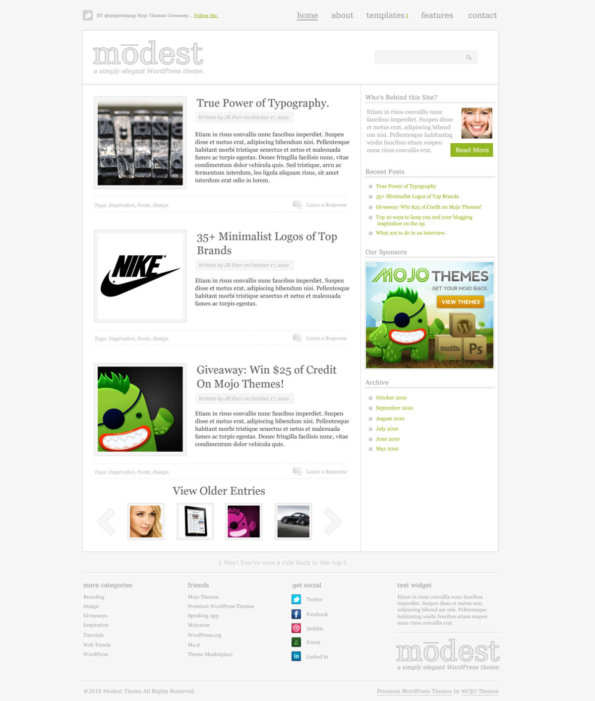 Modest WordPress Theme for Free!